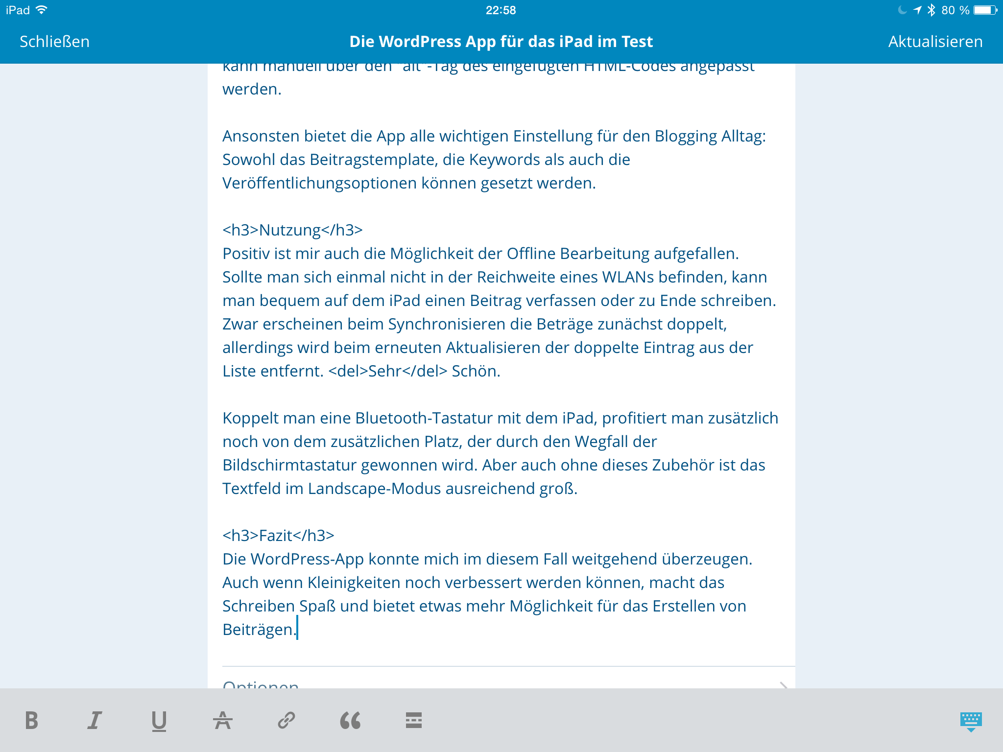 Screenshot der WordPress-App von Automattic